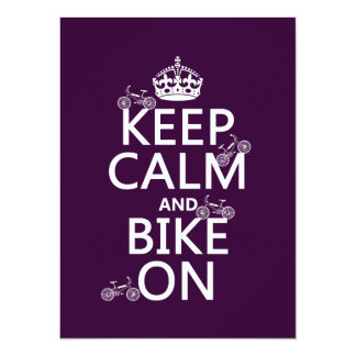 Keep Calm and Bike On (customizable color) Card