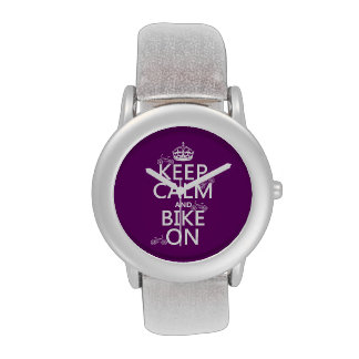 Keep Calm and Bike On (customizable color) Wrist Watches