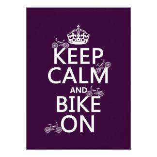 Keep Calm and Bike On customizable color Invitations