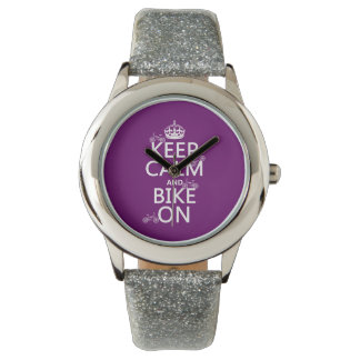 Keep Calm and Bike On (customizable color) Wristwatch