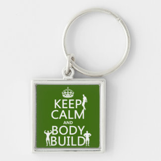 Keep Calm and Body Build customize background Key Chain
