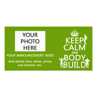 Keep Calm and Body Build customize background Picture Card