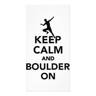 Keep calm and boulder on customised photo card