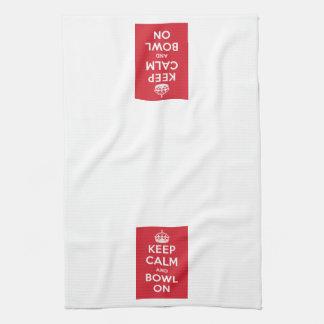 """Keep Calm and Bowl On"" towel"