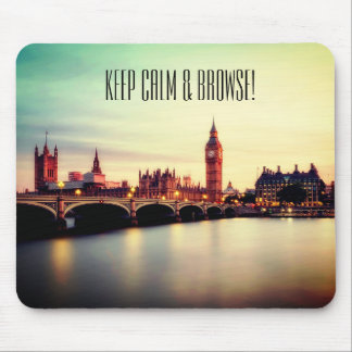 Keep calm and browse mousepad. London city line. Mouse Pad