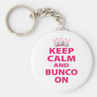 Keep Calm and Bunco On Design Key Ring