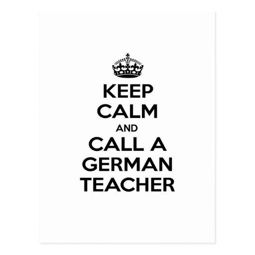 Keep Calm and Call a German Teacher Postcards