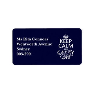 Keep Calm and Call An Agent Address Label