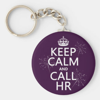 Keep Calm and Call HR (any colour) Basic Round Button Key Ring