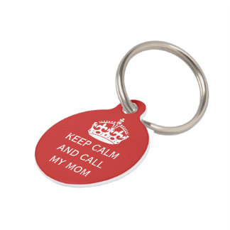 keep calm and call personalised pet tag