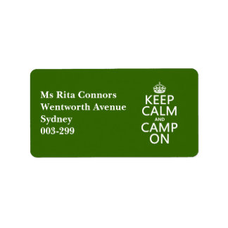 Keep Calm and Camp On Address Label