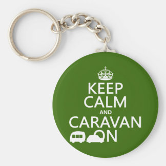 Keep Calm and Caravan On (customizable colors) Basic Round Button Key Ring