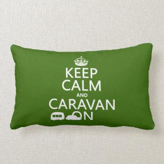 Keep Calm and Caravan On (customizable colors) Throw Cushion