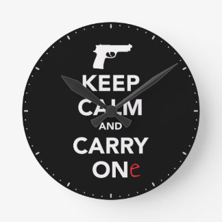 Keep Calm and Carry A Gun Round Clock
