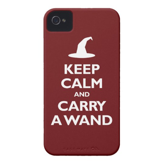 Keep Calm and Carry A Wand (dark red) iPhone 4 Cases