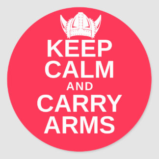 Keep Calm and Carry Arms Danish Viking Gear Classic Round Sticker