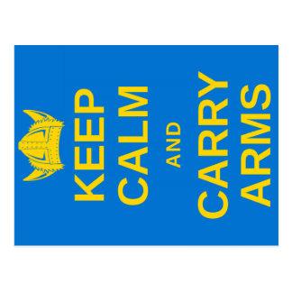 Keep Calm and Carry Arms Swedish Viking Postcard