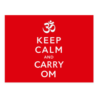 Keep Calm and Carry Om Motivational Morale Postcards