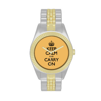 Keep Calm And Carry On Beeswax Color Gold & Silver Wrist Watches