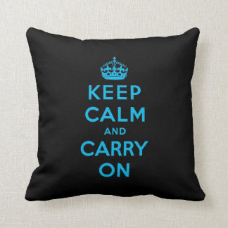 keep calm and carry on -  Black and blue Cushion