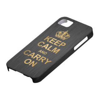 Keep Calm and Carry On - Black and Gold Barely There iPhone 5 Case