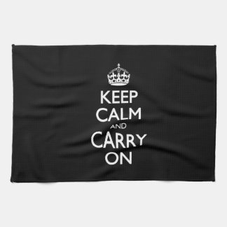 Keep Calm And Carry On - Black And White Design Tea Towel