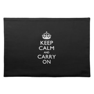 Keep Calm And Carry On Black Placemats
