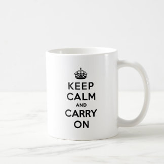 Keep Calm and Carry On Black Text Coffee Mug