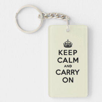 Keep Calm and Carry On Black Text on Vanilla Double-Sided Rectangular Acrylic Key Ring