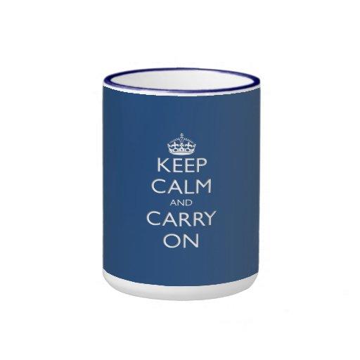 Keep Calm and Carry On (blue) Mugs