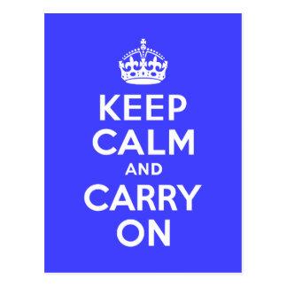 Keep Calm and Carry On Blue Postcard