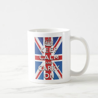 Keep Calm and Carry On British Flag Basic White Mug