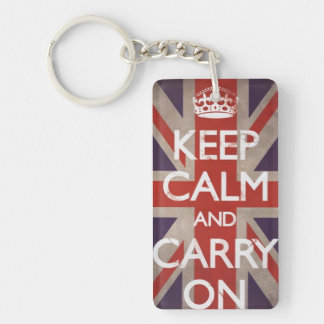 Keep Calm and Carry On British flag keychain Rectangular Acrylic Key Chains