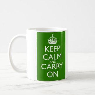 Keep Calm and Carry On British Racing Green Basic White Mug