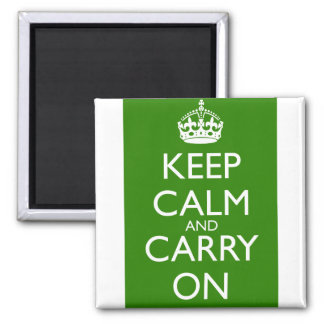 Keep Calm and Carry On British Racing Green Square Magnet