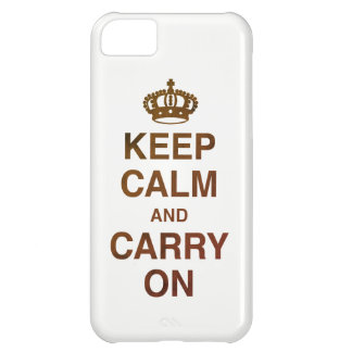 KEEP CALM AND CARRY ON / Brown iPhone 5C Case