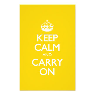 Keep Calm And Carry On - Canary Yellow White Text Stationery
