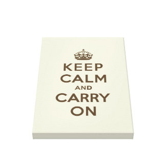 Keep Calm and Carry On Chocolate on Vanilla Canvas Print