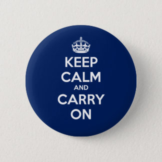 Keep Calm and Carry On Circle Button - Dk Blue