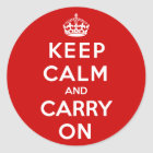 Keep Calm and Carry On Classic Round Sticker