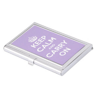 Keep Calm and Carry On Cottage Lavender Business Card Holder