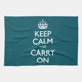 Keep Calm And Carry On. Dark Teal Pattern Towel