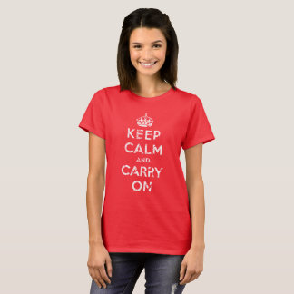 Keep Calm and Carry On, Distressed, White T-Shirt