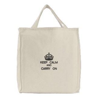 KEEP CALM AND CARRY ON embroidered bag