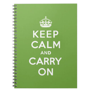 Keep Calm and Carry On Emerald Green Notebooks