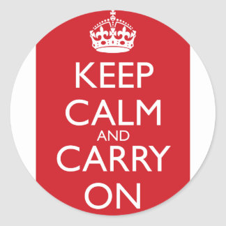 Keep Calm And Carry On Fire Engine Red Stickers