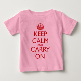 Keep Calm and Carry On Fire Engine Red Text Baby T-Shirt