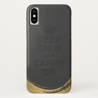 KEEP CALM AND CARRY ON / Gold Brushed iPhone X Case