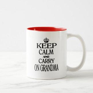 Keep Calm And Carry On Grandma Two-Tone Mug