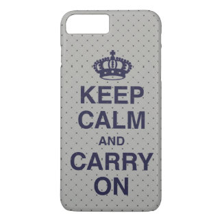 KEEP CALM AND CARRY ON / Gray / Purple iPhone 8 Plus/7 Plus Case